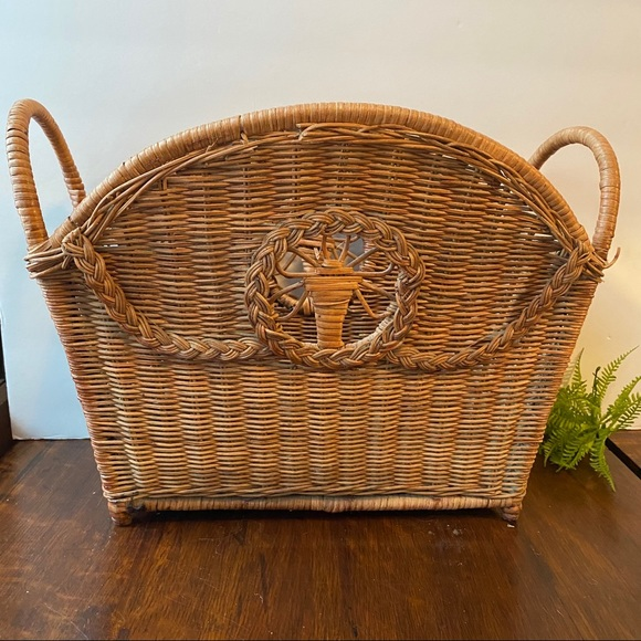 Wicker Woven Basket Magazines Records Knitting